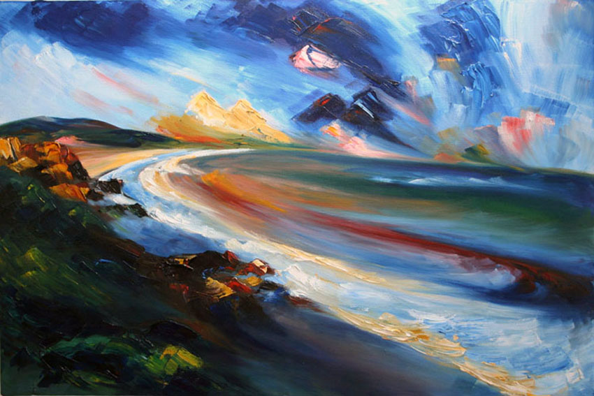 Clifftop - colourful seascape painting of Ballymoney beach and Tara Hill, Co Wexford in oil paint